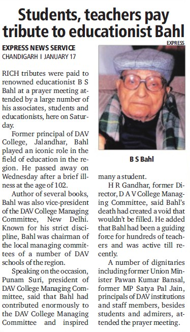 Students, teachers pay tribute to educationist Bahl (DAV College)