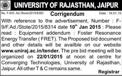 Supply of Foster Resonance Energy Transfer (University of Rajasthan)