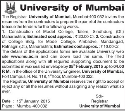 Construction of Model College (University of Mumbai (UoM))