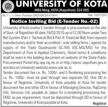 Supply of GC MS (University of Kota)