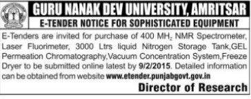 Purchase of Laser Fluorimeter (Guru Nanak Dev University (GNDU))