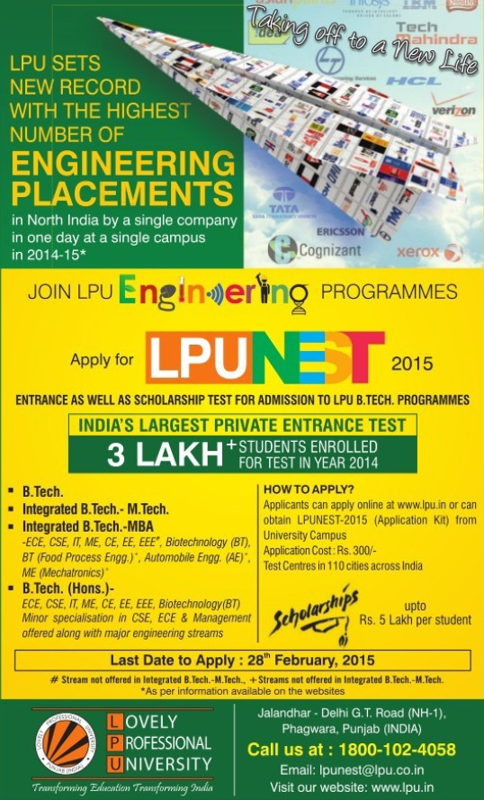 Students test for admission in B Tech (Lovely Professional University LPU)