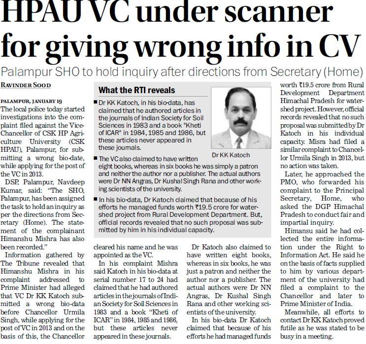 HPAU VC under scanner for giving wrong info in CV (Chaudhary Sarwan Kumar (CSK) Himachal Pradesh Agricultural University)