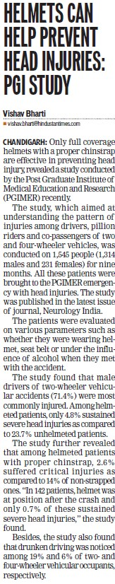 Helmets can help prevent head in injuries, PGI study (Post-Graduate Institute of Medical Education and Research (PGIMER))