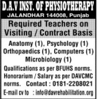 Faculty in Psychology on contract basis (DAV Institute of Physiotherapy and Rehabilitation)