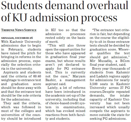 Students demand overhaul of KU admission process (Kurukshetra University)