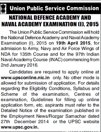 National Defence Academy and Naval Academy Exam 2015 (Union Public Service Commission (UPSC))