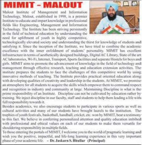 Message of Principal Jaskarn Singh Bhullar (Malout Institute of Management and Information Technology MIMIT)
