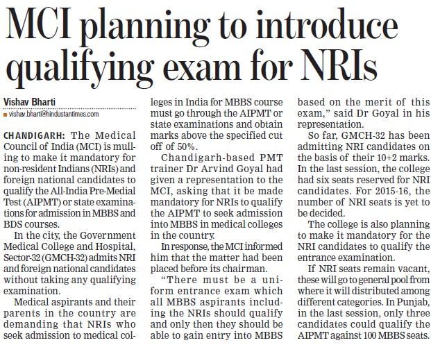 MCI planning to introduce qualifying exam for NRIs (Medical Council of India (MCI))