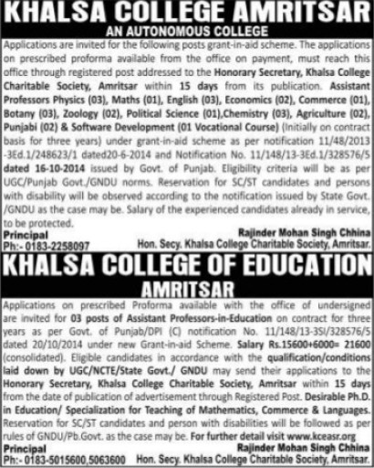 Professor for Chemistry and Hindi (Khalsa College)