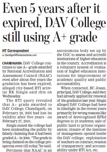 DAV College still using A plus grade (DAV College Sector 10)