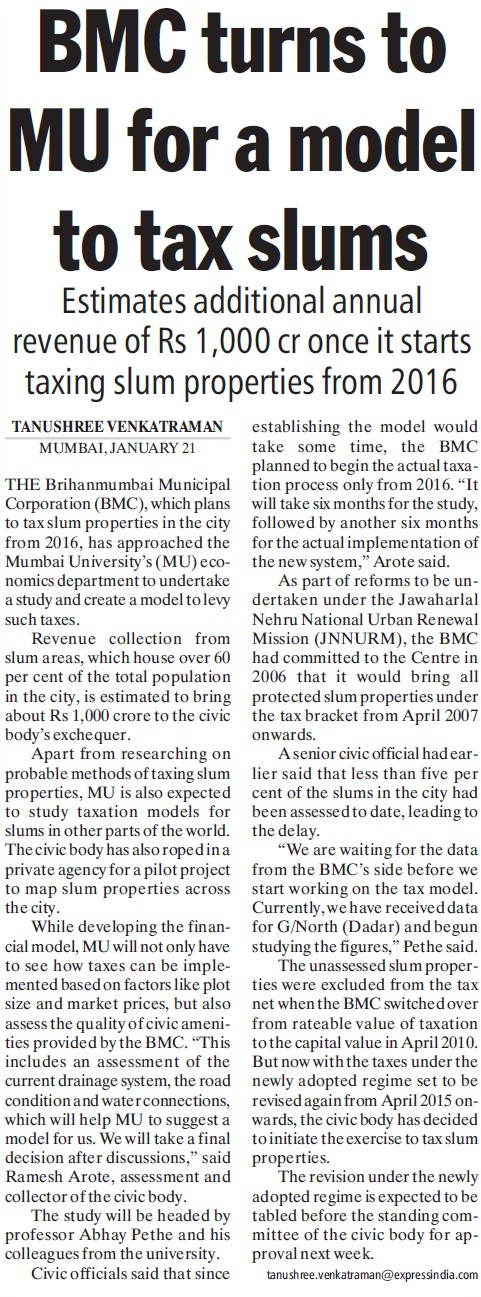 BMC turns to MU for model to tax slums (University of Mumbai (UoM))