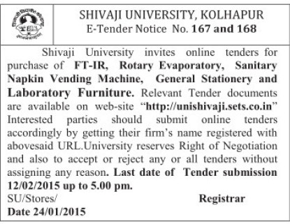 Purchase of FTIR and Sanitary Napkin vending machine (Shivaji University)