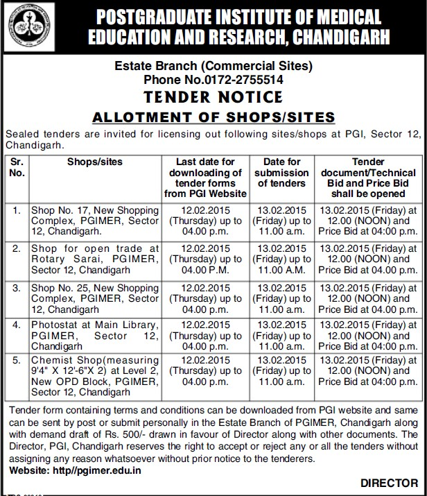Allotment of shop for Shopping complex (Post-Graduate Institute of Medical Education and Research (PGIMER))