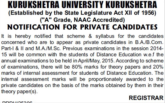 Scheme and Syllabus for the BA and MSc students (Kurukshetra University)
