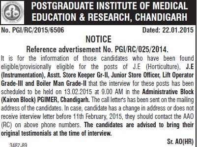 Asstt store keeper (Post-Graduate Institute of Medical Education and Research (PGIMER))