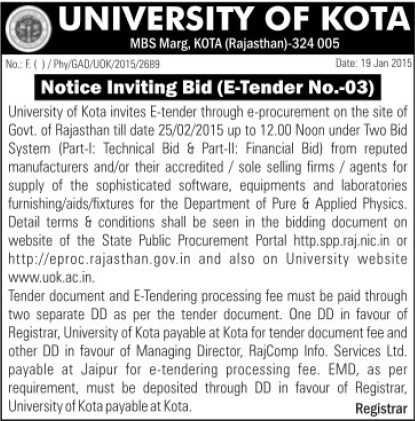 Supply of sophisticated software (University of Kota)