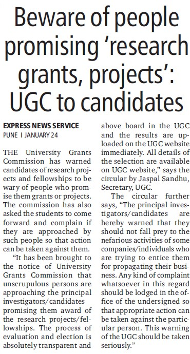 Beware of people promising research grants projects (University Grants Commission (UGC))