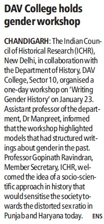 DAV College holds gender workshop (DAV College Sector 10)