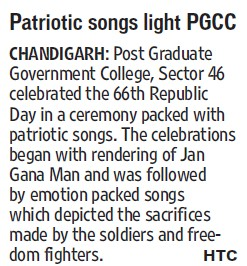 Patriotic songs light PGCC (Post Graduate Government College, Co-Educational (Sector 46))