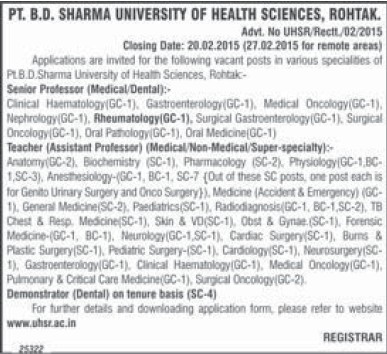 Senior Professor and Asstt Medical Officer (Pt BD Sharma University of Health Sciences (BDSUHS))