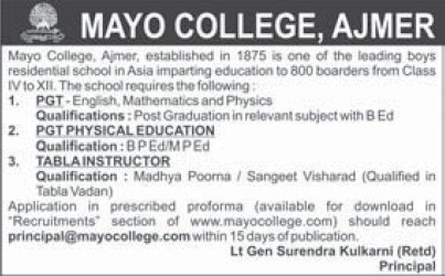 PGT for Physical Education (Mayo College)