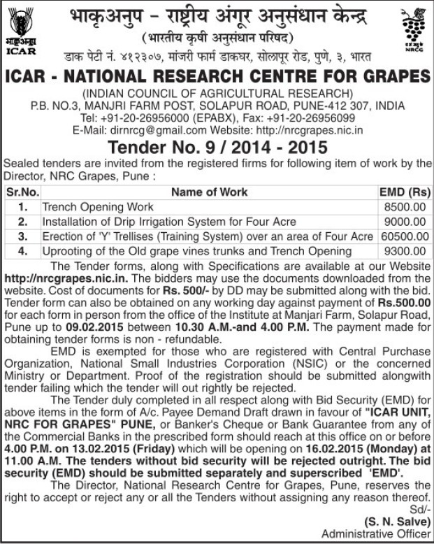 Installation of drip irrigation system for fout acre (National Research Centre for Grapes (NRCG))