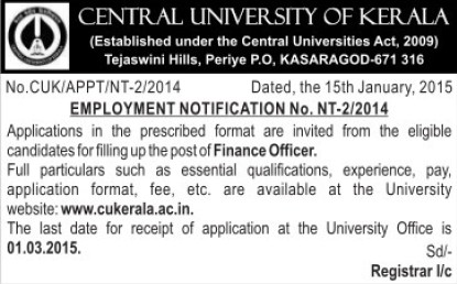 Finance Officer (Central University of Kerala)