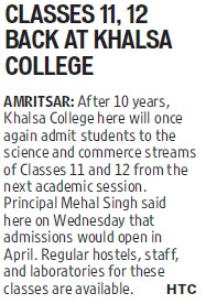 Classes 11, 12 back at Khalsa College (Khalsa College)