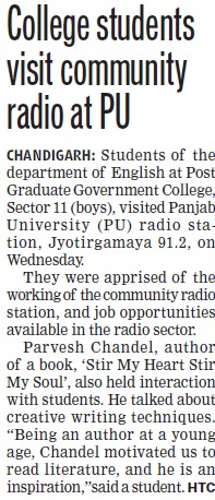 College students visit community radio at PU (Post Graduate Government College (Sector 11))