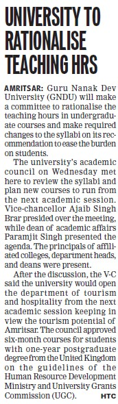 Univ to rationalise teaching HRS (Guru Nanak Dev University (GNDU))