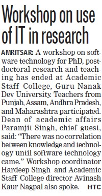 Workshop on use of IT in research (Guru Nanak Dev University (GNDU))
