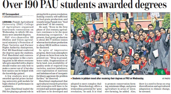 Over 190 PAU students awarded degrees (Punjab Agricultural University PAU)