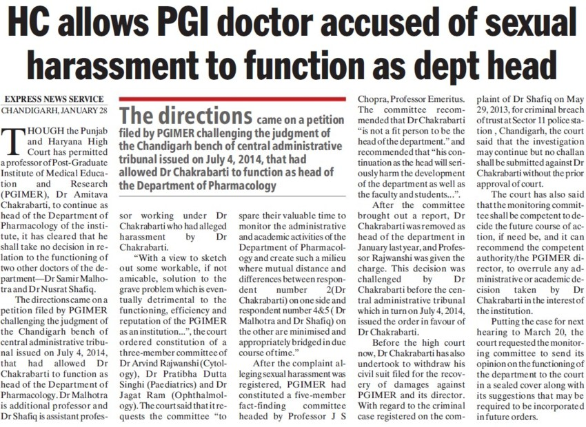 HC allows PGI doctor accused of sexual harassment to function as dept head (Post-Graduate Institute of Medical Education and Research (PGIMER))