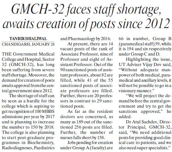 GMCh faces staff shortage, awaits creation of posts since 2012 (Government Medical College and Hospital (Sector 32))