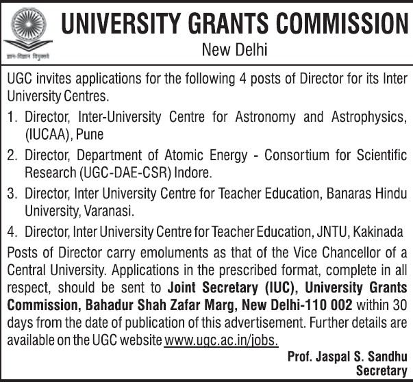 Director required (University Grants Commission (UGC))