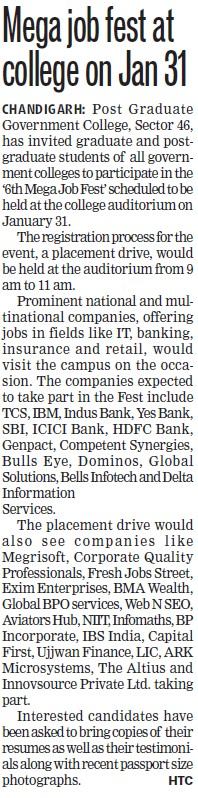 Mega job fest at college on Jan 31 (Post Graduate Government College, Co-Educational (Sector 46))
