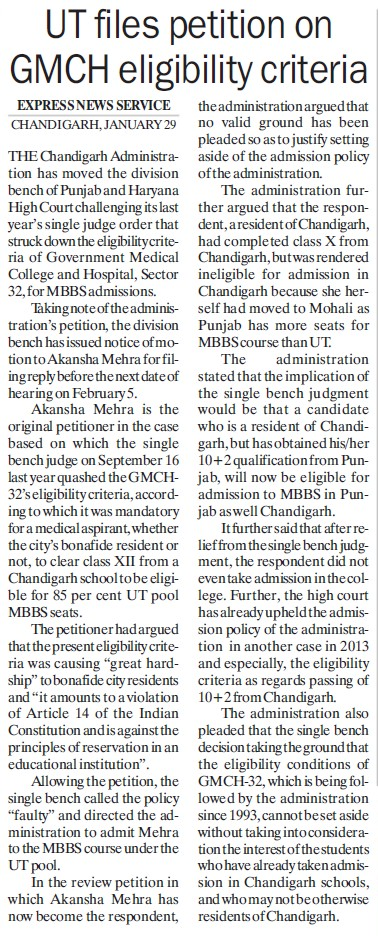 UT files petition on GMCH eligibility criteria (Government Medical College and Hospital (Sector 32))