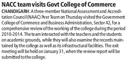 NAAC team visits GC of College (Government College of Commerce and Business Administration (Sector 42))