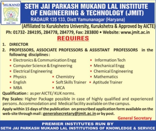 Director and Aptitude Trainer (Seth Jai Parkash Mukand Lal Institute of Engineering and Technology (JMIT))