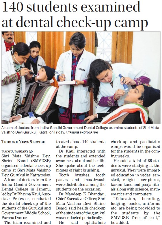 140 students examined at dental check up camp (Indira Gandhi Government Dental College)