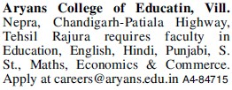 Faculty for Maths and Economics (Aryans College of Education)