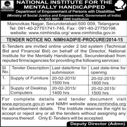 Supply of Furniture items (National Institute for the Mentally Handicapped (NIMH))