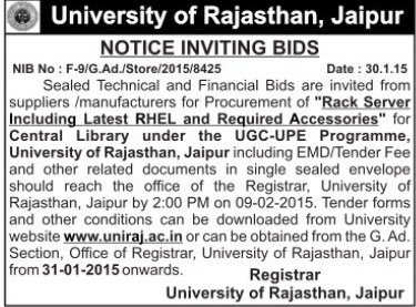 Procurement of Rack Server (University of Rajasthan)