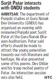 Surjit Patar interacts with GNDU students (Guru Nanak Dev University (GNDU))