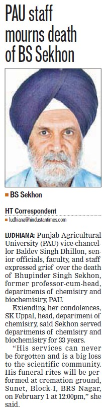 PAU staff mourns death of BS Sekhon (Punjab Agricultural University PAU)