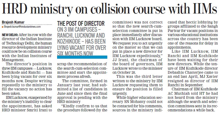 HRD ministry on collision course with IIMs (Khalsa College)
