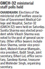 GMCH ministerial staff polls held (Government Medical College and Hospital (Sector 32))