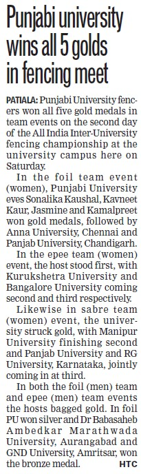 PU wins all 5 golds in fencing meet (Punjabi University)