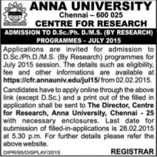 DSc in Research Programme (Anna University)
